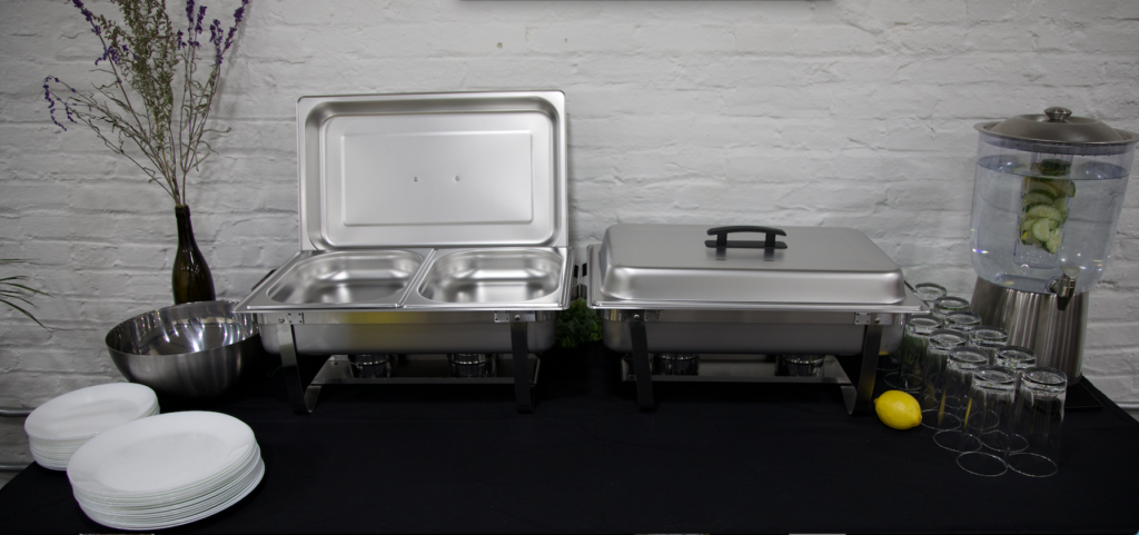 When you book with Nosey Palate, you have an option of renting these Chafing Dishes, plates, glasses, silverware, drink dispensers, and more!